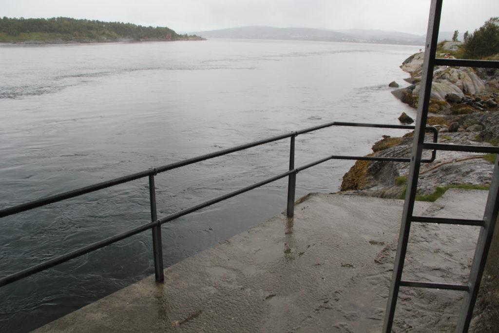 Ja, det syns kanske inte så bra på den här bilden, men fyra ggr per dygn strömmar alltså vattnet under den här bron i 22 knop, två ggr in i fjorden och 2 ggr ut i havet
